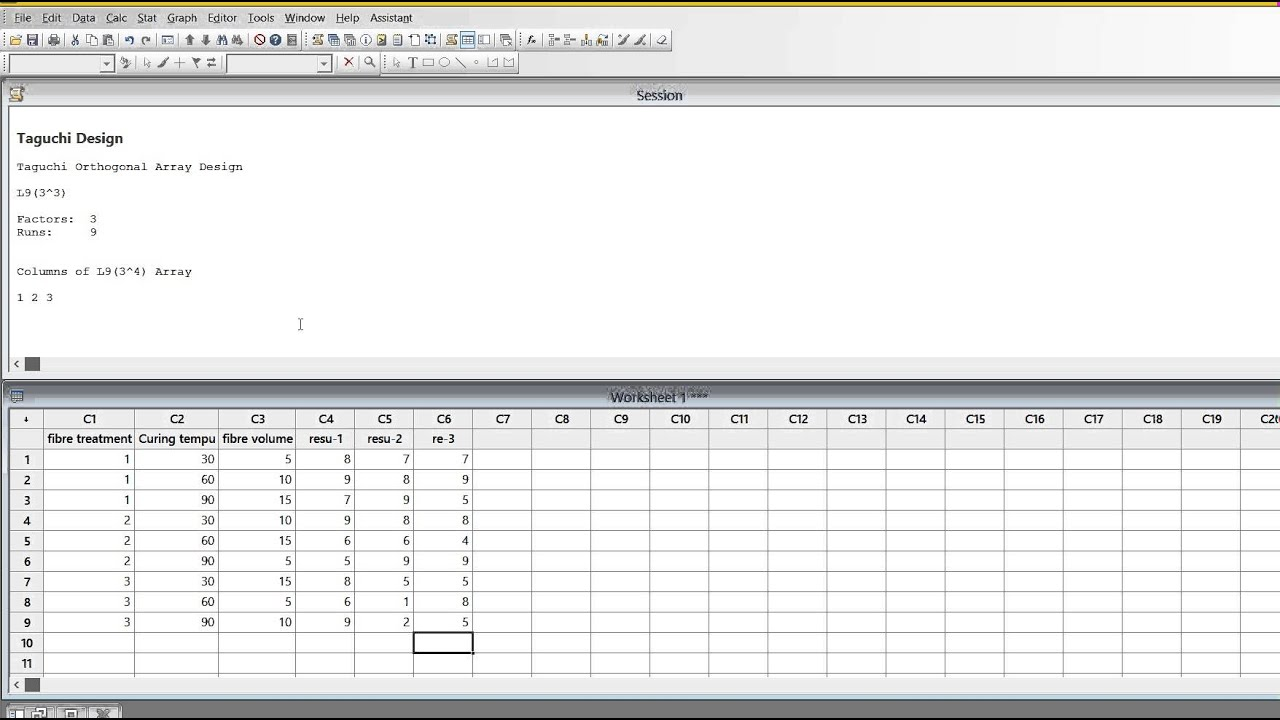 Design Of Experiments By Taguchi Method In Minitab Youtube
