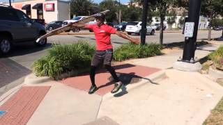 Sign spinner shows off unbelievable skills