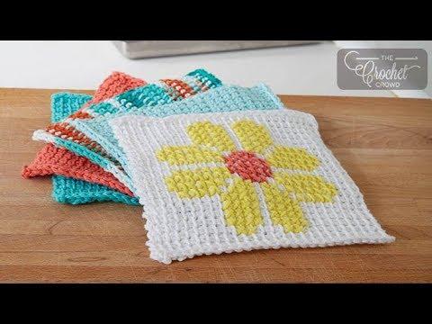 Tunisian Simple Stitch Dishcloth Youtube