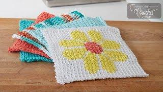 how to tunisian crochet simple stitch dishcloth