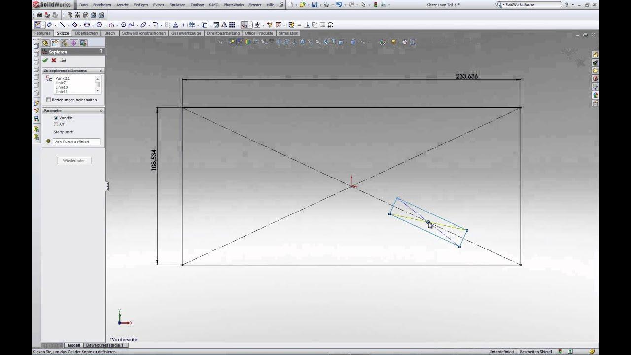 Solidworks Skizzenelemente Verschieben Und Kopieren Teil 5 Youtube