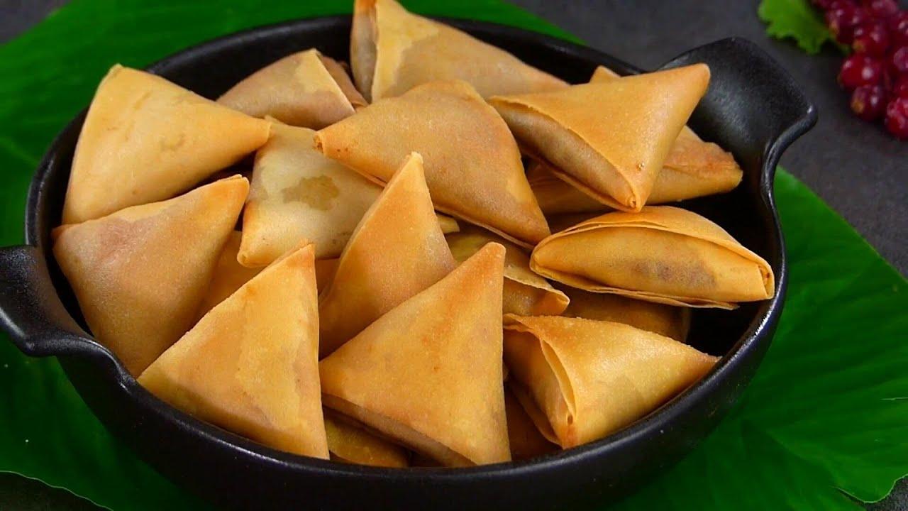 Mini Samosa- Keema Aloo Samosa Recipe by Tiffin Box   How to fold samosa, sambosa, beef samucha