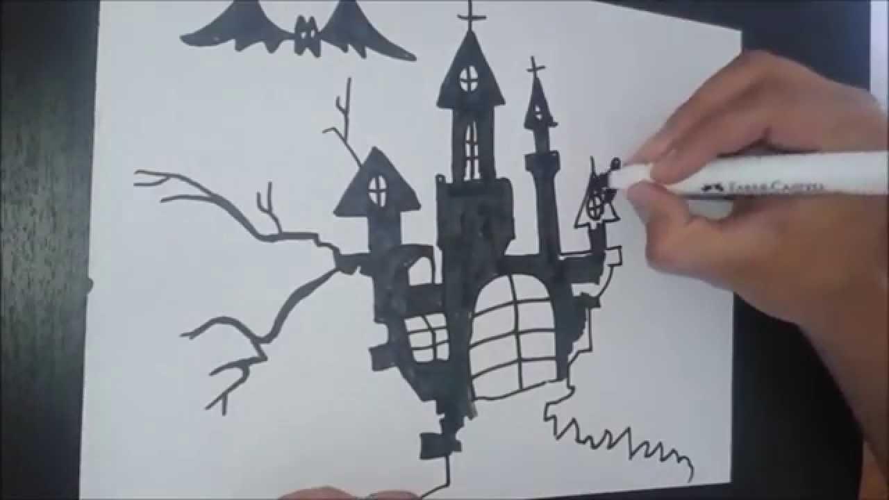 Halloween - Dibujando casa embrujada - Haunted House - | BaRoN - YouTube