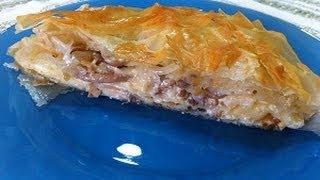 Рецепт -  Пирог из теста  Фило с грибами