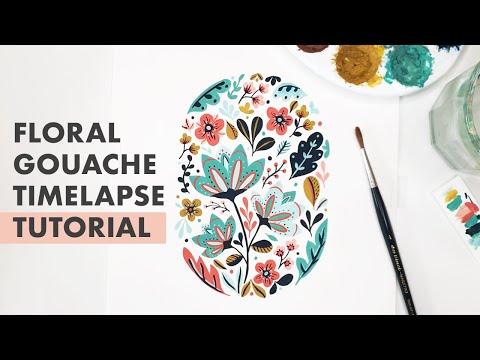 Folk Art Floral Gouache Timelapse Tutorial