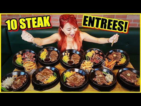 10 STEAK ENTREES - MASSIVE SPREAD OF MEAT!!! At Pepper Lunch In Irvine #RainaisCrazy
