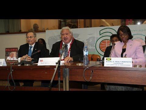 Tuilaepa  Lupesoliai SAILELEI MALIELEGAOI,  P.M. of Samoa addresses the ACP Ambassadors, 24-4-18