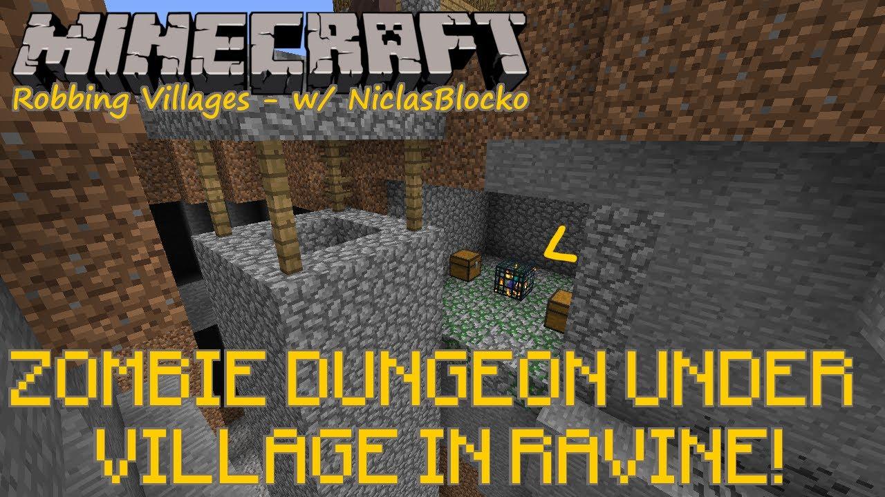 Minecraft Seed: ZOMBIE SPAWNER under VILLAGE inside RAVINE! + HORSES!  [@SPAWN // 1 5&above]