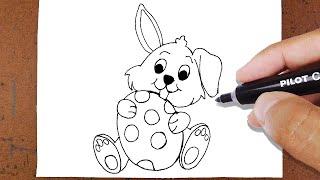 Como Desenhar Coelho Páscoa com Ovo da Páscoa