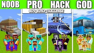 Minecraft Battle : BUS BUILD FAMILY CRAFTING CHALLENGE - NOOB vs PRO vs HACKER Minecraft Animation