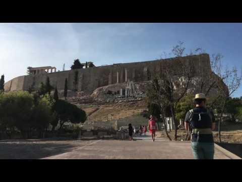 Travelling with baby to Acropolis at Athens