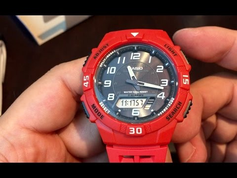 Casio AQ-S800W-4BVCF Solar-Powered Red Resin Watch