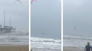 Daredevil Caught Kite Surfing In Hurricane Florence