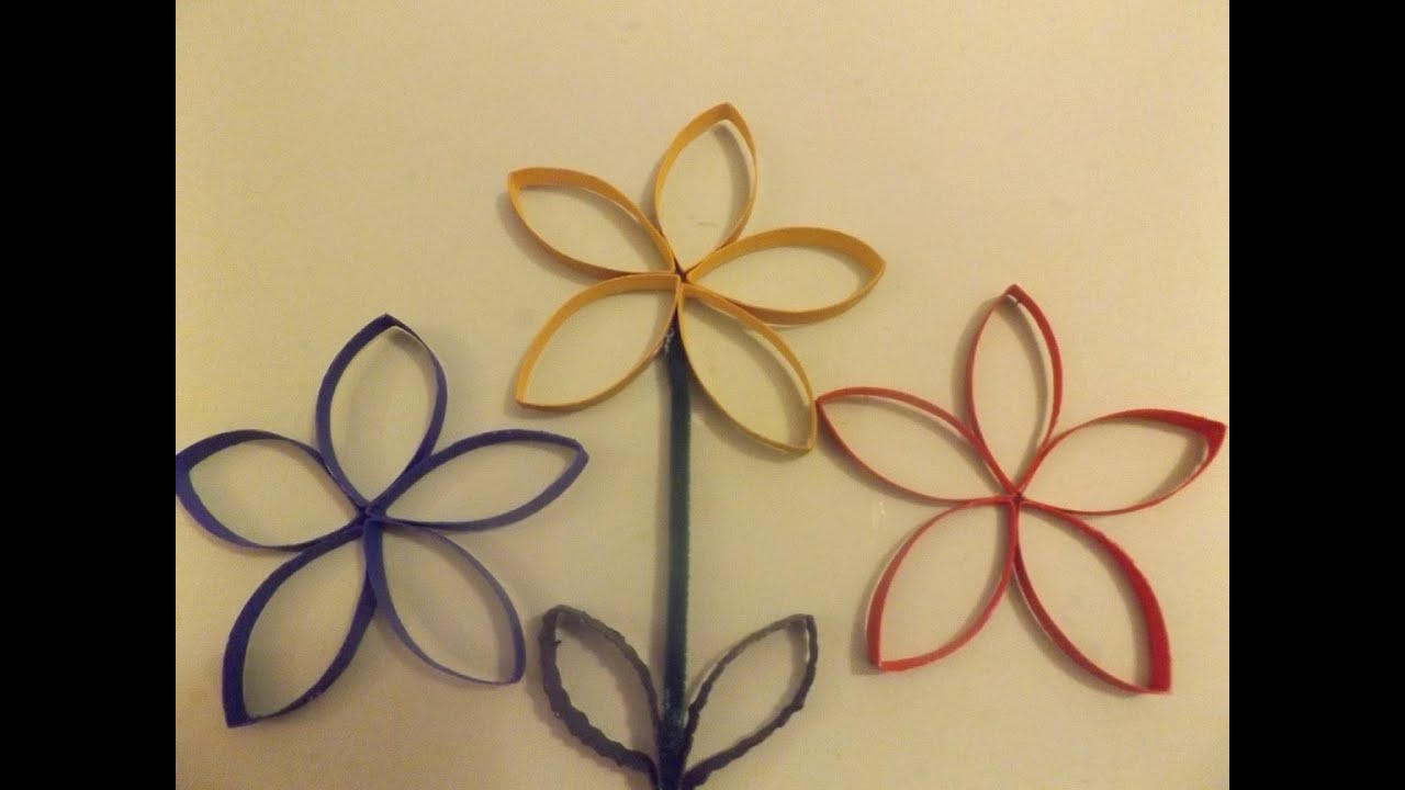 Flowers made from toilet paper rolls - YouTube