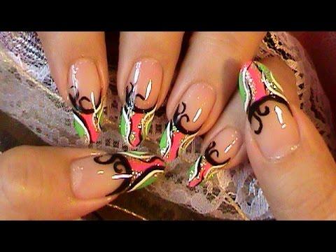 Freestyle Nail Art Design Tutorial - Freestyle Nail Art Design Tutorial - YouTube
