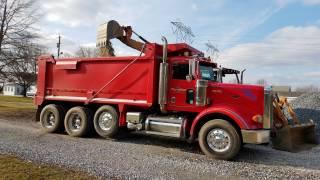 Hauling Stone & Sand In a 2007 Peterbilt 357 Dump Truck w/565 Cummins ISX