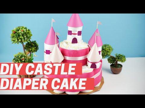 DIY Diaper Cake Castle Baby Shower Gift Idea