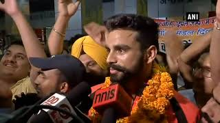 Asian Games: Arpinder Singh receives warm welcome on his arrival at Delhi Airport
