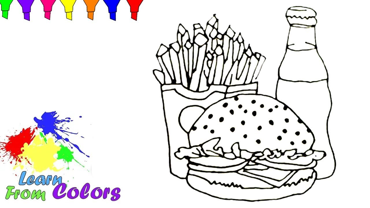 How To Draw Fast Food Learn Coloring Pages | Junk Food Drawing - YouTube