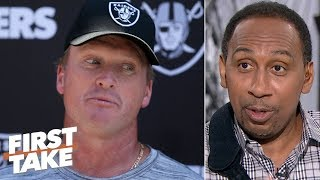 Jon Gruden saying Nathan Peterman is growing on him is embarassing - Stephen A. | First Take