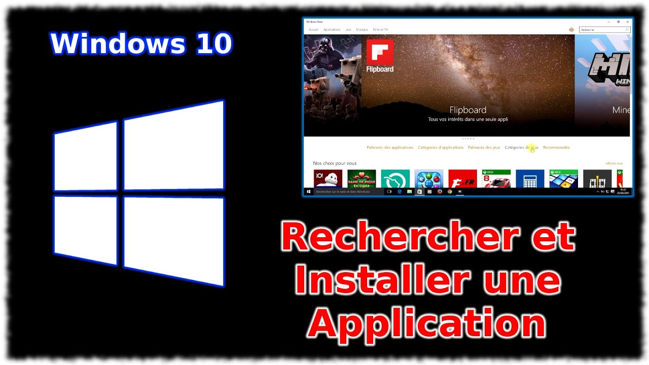 tuto windows 10 rechercher et installer une application youtube. Black Bedroom Furniture Sets. Home Design Ideas