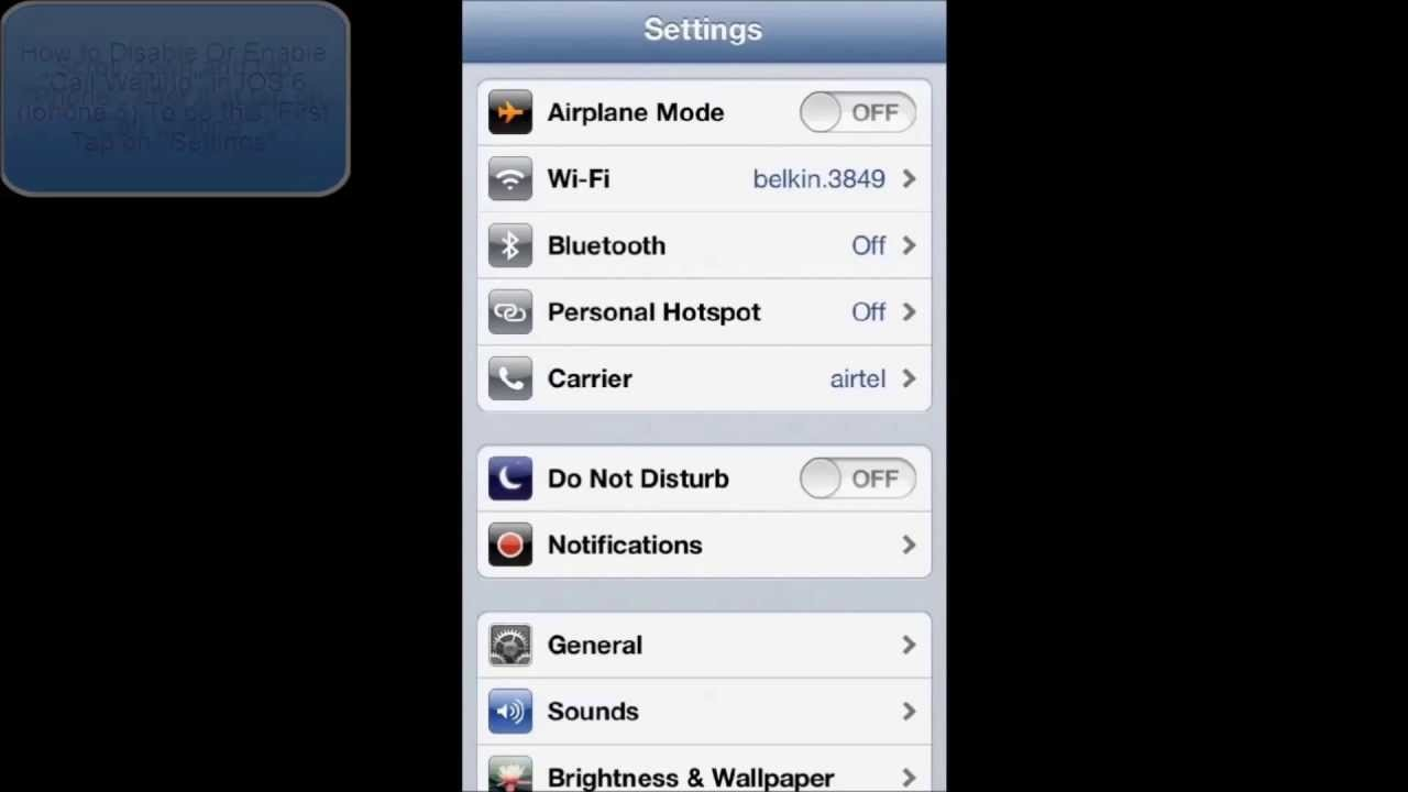 how to enable a disabled iphone how to disable or enable call waiting in ios 6 iphone 5 18774