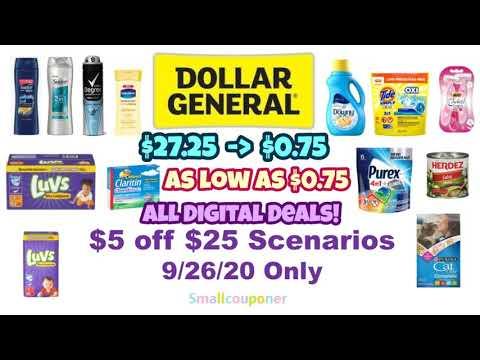 Dollar General $5 Off $25 Scenarios 9/26/20! All Digital Deals!
