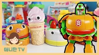 푸드 변신 로봇 5총사 ♥ 아이스크림 나라에 간 루피와 패티! 햄버거 감자튀김 케이크 플레이도우 장난감 놀이 [애니한TV]