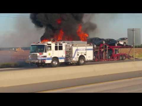 Car hauler on fire
