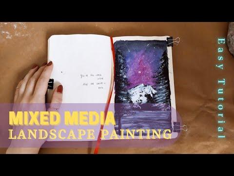 MIXED MEDIA LANDSCAPE PAINTING 🎨🖌️/ Easy Acrylics Tutorial