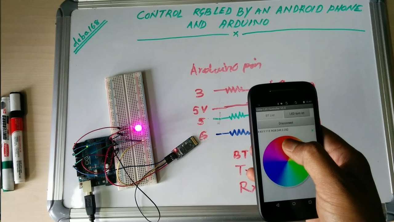 Control Rgb Led By Arduino And Your Smart Phone Youtube