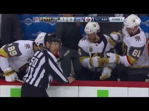 NHL Blake Wheeler gets dumped into bench by Ryan Reaves May 12th, 2018