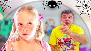 Stacy und Papa bauen aufblasbares Spielhaus