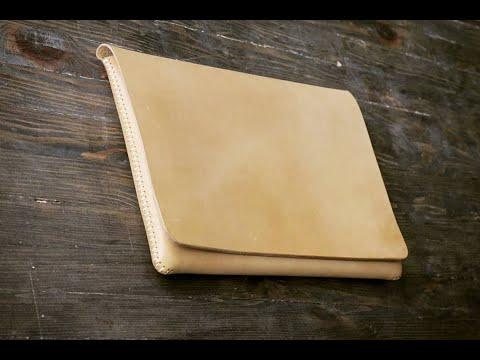 [Leather Craft] DIY Macbook leather case / How to make Macbook handbag / Tutorial/