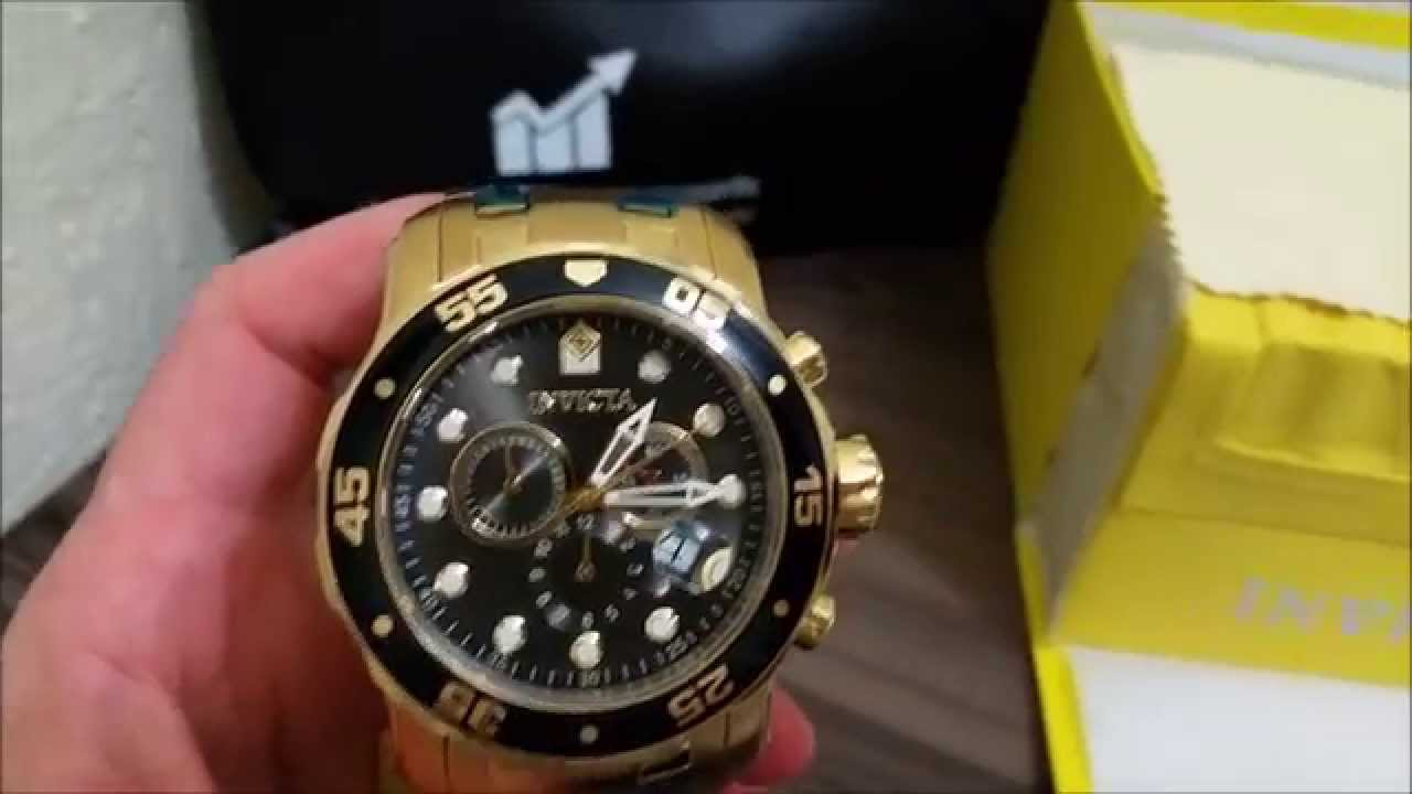 e0d9926572a Relogio Invicta 80064 (0072) Pro Diver Scuba B. Ouro 100% Original - YouTube