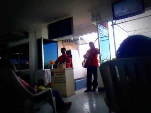Job: Blind team singing at the pre-departure area, Bohol Island 2013