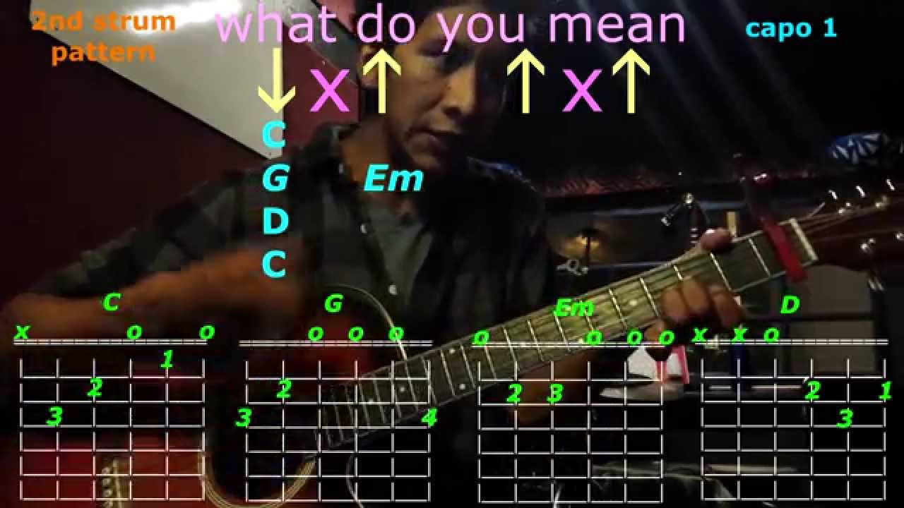 What Do You Mean Justin Bieber Guitar Chords Youtube