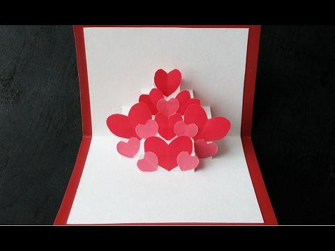 Открытка на день Святого Валентина своими руками / Сердечки