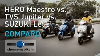 Hero Maestro Vs TVS Jupiter Vs Suzuki Let's - 110cc Scooter Shootout(We pit the new kid on the block, the Suzuki Lets, against two of the best-selling scooters in India, the Hero Maestro and the TVS Jupiter. Watch as we test them in ..., 2015-01-16T15:10:39.000Z)