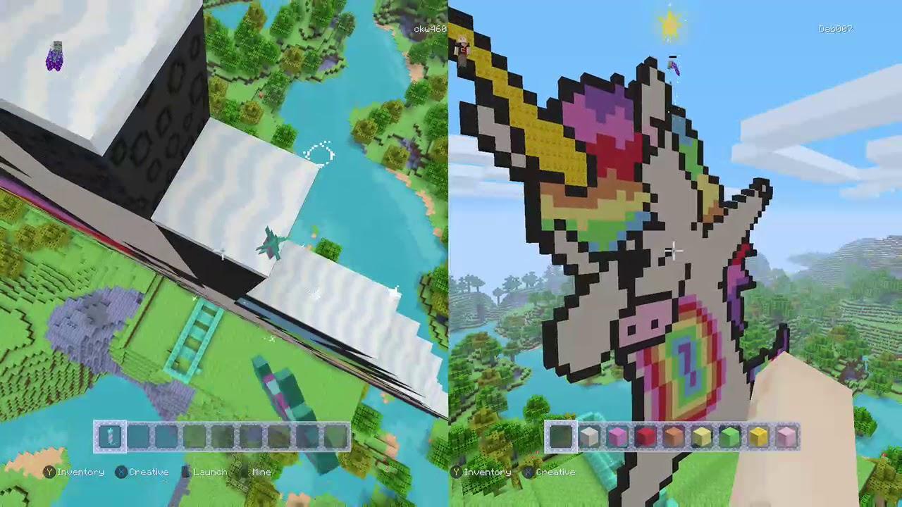 Minecraft Pixel Art Part2 Dabbing Unicorn Finished Youtube