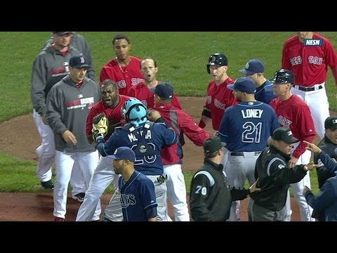 TB@BOS: Benches clear after Carp is hit by pitch