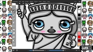 How To Draw A Cartoon Statue of Liberty - New York by Garbi KW