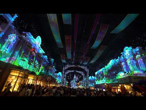 4K Projection Mapping Celebration Street Tokyo Disneyland World Bazaar 2018
