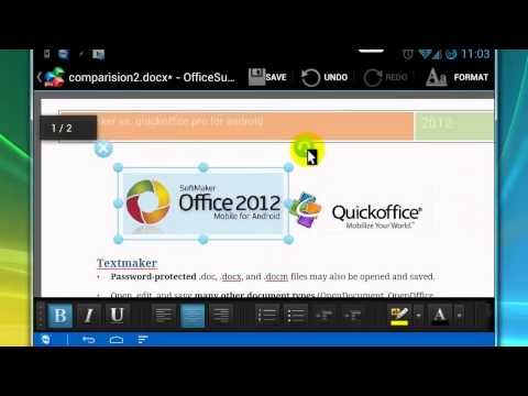Comparison Of Textmaker, Quickoffice And Office Suite For Android