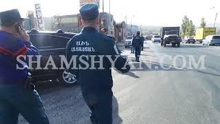 Խոշոր ավտովթար Երևանում  բախվել են Volkswagen ը, LADA ն և «Սանիթեք» ընկերության բեռնատարը