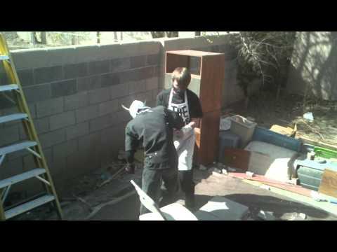 INSANE PAIN BACKYARD WRESTLING- Cinder block match