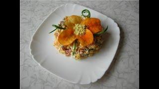 Салат с чипсами и копченой колбасой «Прощай фигура»