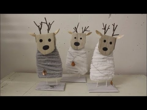 Diy Stehende Elche Mit Wolle Umwickelt Basteln Deko Ideen Weihnachten Selber Machen