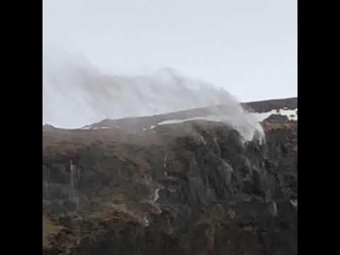 Waterfalls in windy Iceland