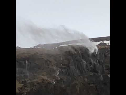Waterfalls in windy Iceland